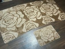 ROMANY GYPSY WASHABLE ROSE DESIGNS SET OF 4 MATS XLARGE SIZE 100X140CM DK BEIGE